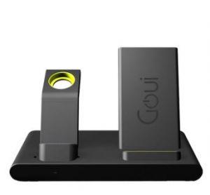 قاعدة شحن Qi ايفون وايباد وساعة ابل لاسلكية 3 في 1 لأجهزة أبل أسود/أخضر