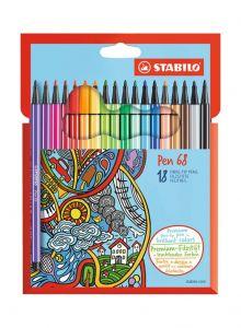 ستابيلو قلم ليفي الرأس Pen 68 18 قطعة متعدد الألوان