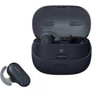 سماعة  الاذن اللاسلكية WF-SP900B مع خاصية عزل الضوضاء الكاملة من سوني-أسود