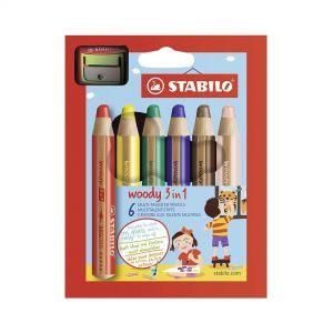 ستابيلو اقلام خشب ملونة عريضة مع براية 6 الوان